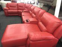 NEW / EX DISPLAY LazyBoy Leather Hedgemoor Recliner Corner Sofa + Chaise + Media Tray