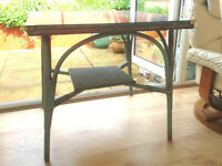 Vintage Original Lloyd Loom Conservatory Table With Glass Top. Shabby Chic. Lusty From 1930's