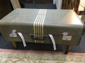 Vintage suitcase converted to coffee table