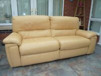 Leather electrically operated recliner sofa