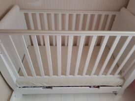 Sleigh Cot Bed, mattress and drawer