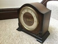 ANTIQUE VINTAGE 1930s WOODEN BENTIMA MANTLE CLOCK, WORKING, REFURBISHED, ART DECO