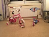 Girls bike & Frozen scooter, hardly used& in great condition