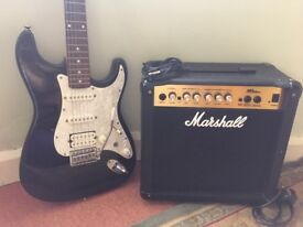 Rocket deluxe electric guitar and Marshal MG 15cd amp