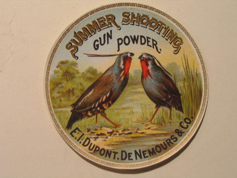 Vintage Summer Shooting Gun Powder Label (DuPont) Original