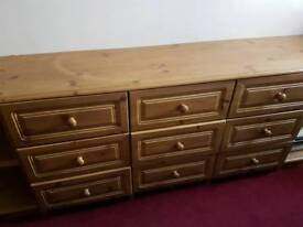 Bedroom multi chest of drawers/dressing table & matching beside cabinets