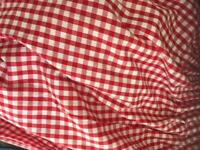 Red gingham country farm house style curtains