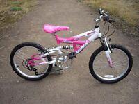 Girl's full suspension mountain bike