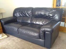 Navy leather 3 & 2 seat sofas
