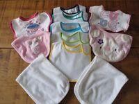 Newborn Baby Bibs (9 no.) and Burp Cloths (2 no.)