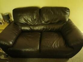 2 x 2 seater Brown leather settee