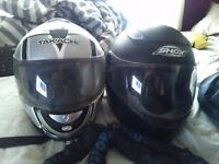 2 x helmets and 2x leather motorbike jackets