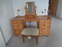 'Ducal' solid oak dressing table + mirror + stool