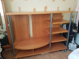 Light Wood Multi-Media, TV or Wall Unit - Very Good Condition 140cm wide