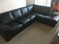 Real Leather Corner Sofa, Black, Good Condition