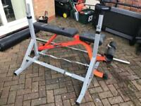 Olympic bench, bar, curl bar, weight bundle new condition