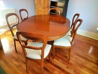 Beautiful French cherry wood extending dining table and six chairs
