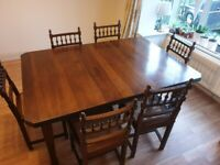 Lovely Antique Arts And Crafts Extending Dining Table With 8 Caned Chairs.