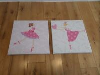 Set of two Princess Ballerina canvas art pictures