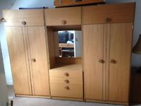 Teak Wardrobe/cupboard unit for sale. Excellent condition. comes in three sections.