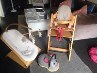 Stokke high chair and bouncer