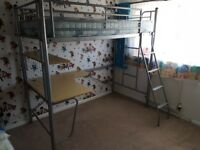 Kids Metal High Sleeper, single bed with Desk & Mattress