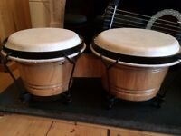 Bongo Drums - Solid Wood, Leather pads, excellent condition