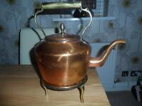 Copper Antique Kettle and Brass Stand