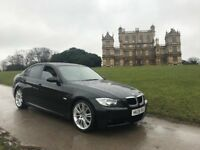 BMW 320i M-SPORT, 2008 08-REG, BLACK, with CREAM LEATHER, SAT NAV, CAMERA, LADY OWNER and FSH...!!!