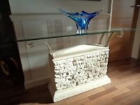 Italian Hall / Display Table with good quality artificial stone base and glass top.