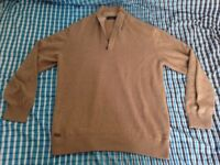Lacoste Brown 1/4 Zip Jumper - Size 7 (XXL)