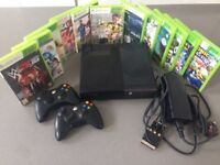 Xbox 360 E bundle in good working order. Scratched surface. Use via AV cable (not HDMI), included.