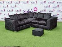 Brand new 2corner2 sofas jumbo cord, crushed velvet or plush velvet with footstool included 😍🔥✅