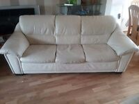 Cream Leather, three seater Sofa - used but in good condition