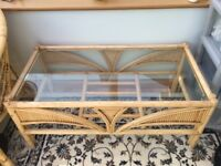 vintage bamboo/cane conservatory coffee table with quality glass top