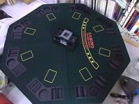 Poker table top and electric card shuffler