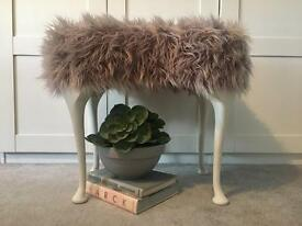 Faux fur vintage stool