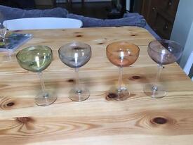Set of four rainbow cocktail glasses - unused