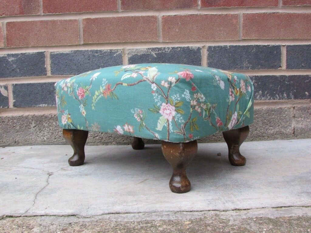 Vintage style Queen Anne legs re-upholstered Foot Rest, Foot stool , birds, tropical