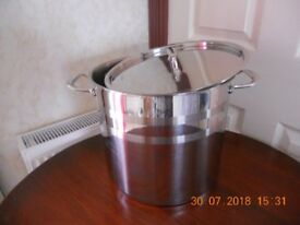 STOCK POT COOKING PAN WITH LID 14LT STAINLESS STEEL SUPURB LIKE NEW!