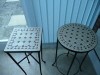 2 Occasional Tables with Wrought Iron frames
