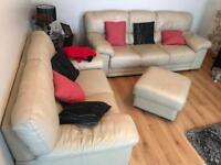 Price Drop ** Urgent ** Nicoletti cream leather sofa suite