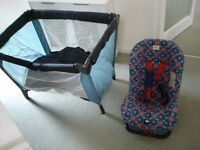 Travel cot and Britax child's car seat.