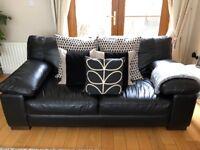 Sofas (3 + 2 seater) black leather
