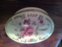 Crown Staffordshire fine bone china MY LOVE FOR YOU IS EVER TRUE trinket pill box