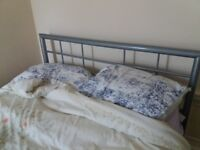 grey metal double bed frame & mattress