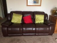 Harvey's Brown Leather 3 Seater 3 position Reclining Sofa Settee - VGC as Hardly used(Mid August)