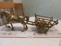 Stunning Large Vintage solid brass cob horse and hay cart
