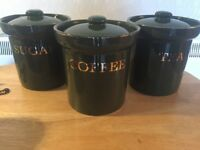 Tea, Coffee & Sugar Canisters, Green with Gold writing and trim, in good condition