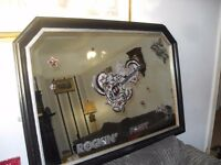 FABULOUS PUB MIRROR HAS ROCK n ROLL MUSIC THEME IN MAHOGANY FRAME 41 X 29 INCHES CAN DELIVER